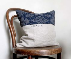 Criss Cross. Natural Decorative Pillow from Vintage Recycled Silk and Natural Linen. Hand Embroidered Detail. on Etsy, $88.88