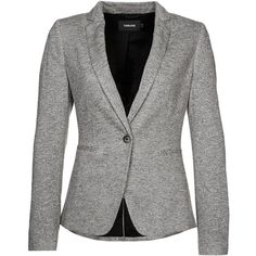 Turnover Blazer grau ($170) ❤ liked on Polyvore featuring outerwear, jackets, blazers, coats, tops, grey, blazer jacket, grey jacket, grey blazer and gray jacket