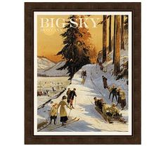 Because I have a soft spot in my heart for Montana . . . Framed Big Sky Vintage Ski Poster #potterybarn