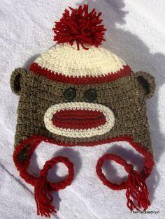 sock monkey hat / crochet/ handmade character hat. $25.00, via Etsy.