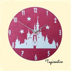 horloge sur vinyl 33 tours rose célèbre chateau de princesse ;-)