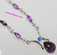 Artisan Jewelry Purple Amethyst Fire Opal Stone 925 Sterling Silver Choker Necklace