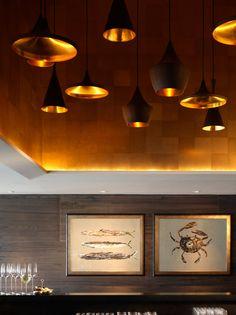 "Maya Romanoff ""Precious Metals"" Leaf;   Sevva Restaurant Hong Kong  Design: Team HC 2009 @Maya Romanoff #mayaromanoff"