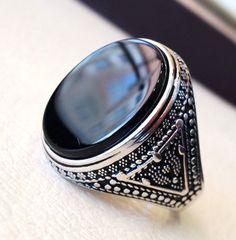 aqeeq natural agate onyx huge big stone oval black flat gem #ring #Etsy