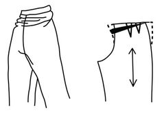 Illustration depicting pattern alteration of pants  for bulging thighs