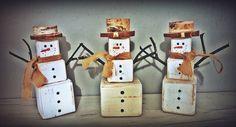 Snowman wood block bałwanek z drewna bałwan drewno kostki