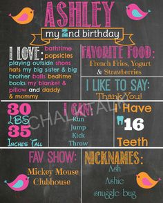 Bird Birthday Chalkboard  Printable  First by ChalkTalkDesigns