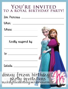 Birthday. Lovely Disney Frozen Birthday Party Invitation Template Design Blank Birthday Invitation.