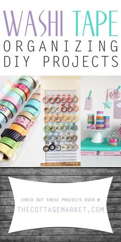 Do you have rolls and rolls of Washi Tape or decorative tape? Are they all over the place?check out these creative Washi Tape Organizing DIY Projects Diy Washi Tape Decor, Diy Washi Tape Projects, Washi Tape Uses, Washi Tape Storage, Washi Tape Wall, Washi Tape Crafts, Washi Tapes, Masking Tape, Sewing Projects