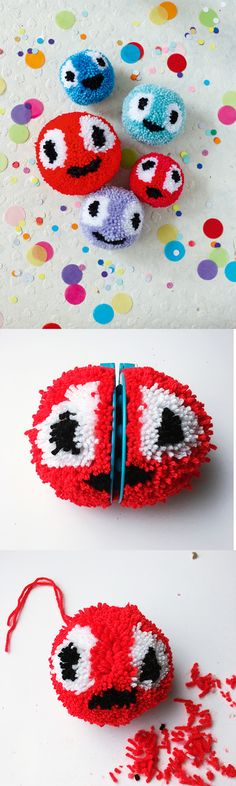 Pom pom faces | Pattern in Mollie Makes The Big Comic Relief Crafternoon 2