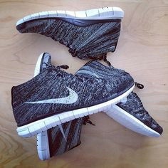 #Nike Free Flyknit Chukka Black Grey #sneakers
