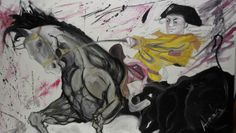 ALESSANDRA_MATADOR ALESSANDRA Tempera su tela, 1m x 1,5, 2012.  L'opera Matador è un inno all'energia e al dinamismo, realizzato solo con tempera, vuole esprimere tutta la rabbia e il furore di una gara contro la morte, per la vita.  Uno scontro all'ultimo granello di sabbia, per la gloria e la vittoria. Un cavallo andaluso, un toro e il suo Matador in una danza di colori e frastuoni e un eterno movimento.