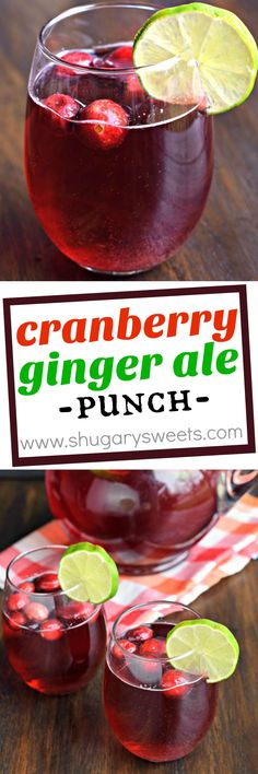 Cranberry Ginger Ale Punch that can be made boozy or not. It's great for grown-ups and kids alike! Ginger Ale Punch, Ginger Ale Drinks, Cranberry Ginger Ale, Ginger Ale Cocktail, Alcoholic Punch Recipes, Alcohol Recipes, Spiked Punch Recipes, Punch Recipes For Kids, Alcoholic Drinks