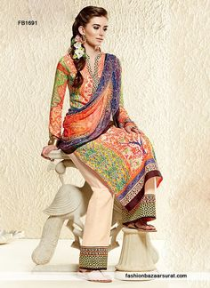Modish Multicolored Printed Pakistani Suit