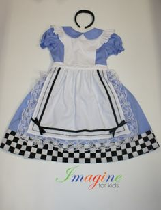 Alice in Wonderland inspired costume  For more information contact Imagine For Kids at sales@imagineforkids.com.au  www.fb.com/imagine4kids Alice In Wonderland, Custom Made, Cheer Skirts, Costumes, Summer Dresses, Inspired, Kids, Inspiration, Fashion