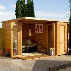 12 x 8 Wooden Garden room Summerhouse with side shed Shed Office, Garden Office, Bungalows, Contemporary Garden Rooms, Studio Shed, Modern Shed, Shed Storage, Office Storage, Garden Buildings