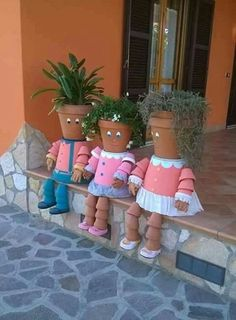 Plant holder family made from flowerpots