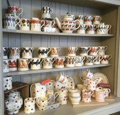 Emma Bridgewater Shop Display & Vintage style white wooden wall shelf display storage unit shabby ...