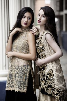 Saira Rizwan's take on winter luxury is precisely on point entwining luxe velvets with the romance of glamorous sheers in strict opulence. Rich gold brocade and heavy tilla thread work agains…