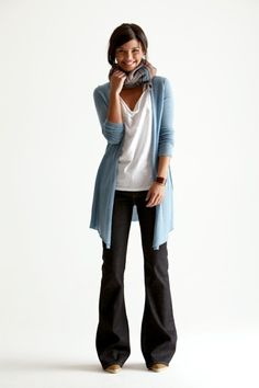 This is like my ideal everyday look: comfy and flattering pants, a relaxed tee, a sweater or cardigan with a punch of color, and a scarf for some class and contrast. Perfect. :)