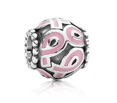 Breast Cancer bead by Pandora jewelry... a donation from sales is given to fund breast cancer research.  www.BozemanJewelry.com