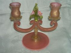 Venetian Candlestick, Candelabra, Pink & Green Glass with Roses, Gold