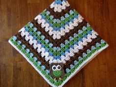 Ready to Ship- Free Shipping (US)- Handmade Crochet Owl Baby Blanket- 27x27- Green, blue, brown via Etsy