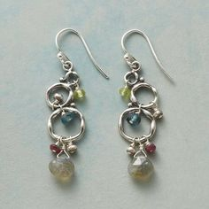"""STERLING BUBBLES EARRINGS - $98.00 Sterling silver bubbles balance in pretty danglers accented with labradorite, ruby, peridot, dyed quartz and Thai silver. Sterling wires. Exclusive. 1-5/8""""L."""