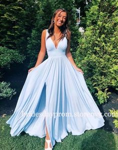 Pretty Prom Dresses, Prom Dresses Blue, Maxi Dresses, Elegant Dresses, Summer Dresses, Dress Prom, Simple Dresses, Chiffon Dresses, Light Blue Bridesmaid Dresses