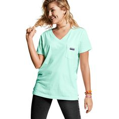 PINK Campus Short Sleeve V-Neck Tee ($29) ❤ liked on Polyvore featuring tops, t-shirts, red, oversized v neck tee, pink tee, oversized tee, cotton v neck t shirts and short sleeve tee
