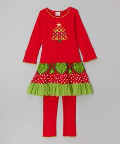 Love this Red Christmas Tree Tunic & Pants - Infant, Toddler & Girls on #zulily! #zulilyfinds