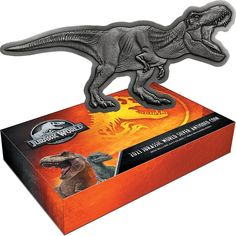 This 2021 Jurassic World T-Rex Shaped 2oz Silver Antiqued Coin celebrates the cult science fiction adventure film series. The unique design is shaped to replicate the world's most famous dinosaur - the Tyrannosaurus Rex, one of the main characters from Jurassic World films. Its surface has been 'antiqued' by hand to give it a unique finish. Jurassic World T Rex, Adventure Film, Antique Coins, Tyrannosaurus Rex, Silver Coins, Science Fiction, Films, Surface, Characters