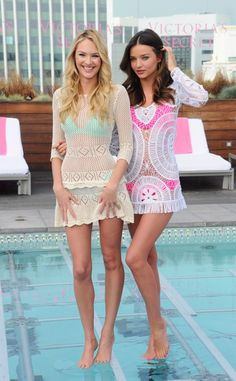 Miranda Kerr & Candice Swanepoel Make a Pretty Team - love their crochet dresses :D