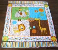 safari baby quilt gender neutral quilt animal by BlackTulipQuilts, $145.00