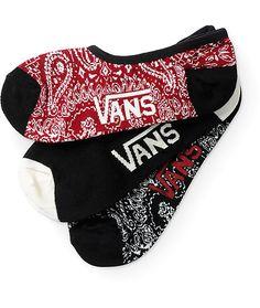 d38dd789e2 Vans 3 Pack Canoodle Bandana No Show Socks