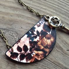 Fall Winter Floral Shrink Printed Plastic by SquirrelsNest on Etsy #$14.00 #shrinkplastic #fall #winter #floral #necklace #pendant #copper #antique #key #skeletonkey #flowers #digital #wood #leaf #gift #christmas #stockingstuffer