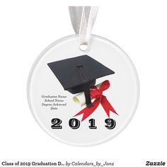 Shop Class of 2019 Graduation Day Ornament by Janz created by Calendars_by_Janz. Graduation Ornament, Graduation Day, Shop Class, Selling Design, Class Of 2018, How To Make Ribbon, Family Memories, Birthday Celebration, Printing Process