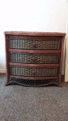 Wicker Chest With 3 Drawers #Unbranded