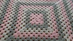 Handmade crochet baby blanket, WHITE, GREY AND PINK 3