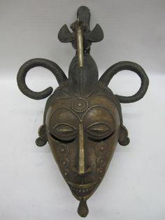 AFRICAN ART SENUFO BRONZE MASK