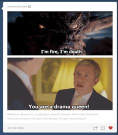 Sherlock meets The Hobbit - You are a drama queen! Sherlock Holmes, Sherlock Fandom, Sherlock John, Sherlock Humor, Watson Sherlock, Jim Moriarty, Sherlock Quotes, Legend Of The Seeker, Doctor Who