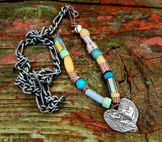 Necklace Heart Fine Silver Vintage African Beads by codysanantonio, $140.00