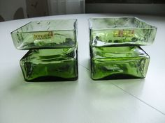 Vintage Set of two cristall Pala vases in green glass by Helena Tynell for Riihimäen Lasi Finland by AnnChristinsVintage on Etsy
