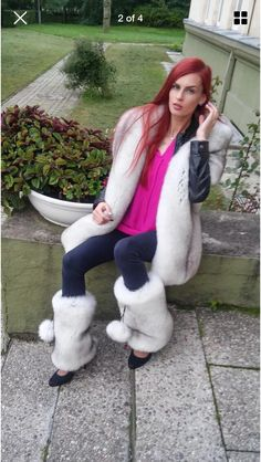 With pompons 733757040004 Fur Accessories, Fur Clothing, Fur Stole, Fur Boots, Sexy Boots, Fur Fashion, Fox Fur, Leg Warmers, Redheads