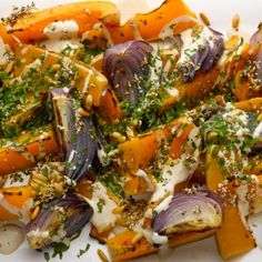 Roast butternut squash and red onion with tahini and za'atar. If you want a vegetarian dish to make an impact on the table, this does the job – it looks great and has really complex flavours. Serves four.
