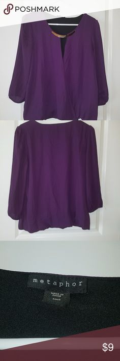 Metaphor purple blouse. 3/4 length sleeve. Cute blouse. Great for work! Comes with  attached neck piece. Metaphor Tops Blouses