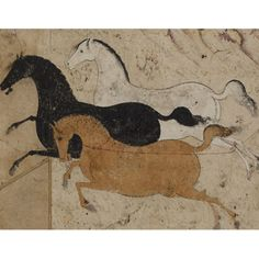 The original Persian painting depicts three horses (white, black, and tan), all viewed in profile.