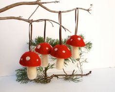 Hanging Toadtool Ornaments 4 red mushroom decoration woodland tree handmade nature white Hanging Aice in Wonderlandteamt. $28.00, via Etsy.