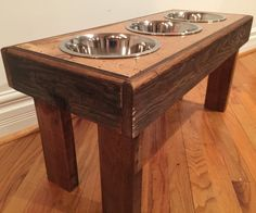 A personal favorite from my Etsy shop https://www.etsy.com/listing/289283685/rustic-dog-bowl-stand-made-from-recycled