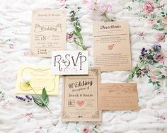 Illustrated Kraft Brown Paper Stationery Invitation Multicoloured DIY Rustic Wedding http://vickylamburn.com/